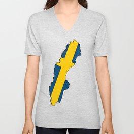 Sweden Map with Swedish Flag Unisex V-Neck
