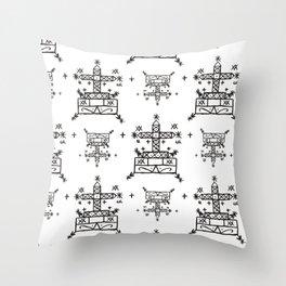 Baron Samedi Voodoo Veve Symbols in White Throw Pillow