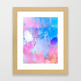 Abstract Candy Glitch - Pink, Blue and Ultra violet #abstractart #glitch Framed Art Print