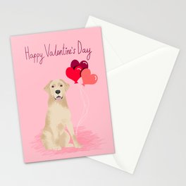 Labrador Retriever yellow lab valentines day dog breed gifts heart balloons Stationery Cards