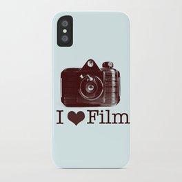 I ♥ Film (Maroon/Aqua) iPhone Case