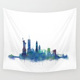 NY New York City Skyline NYC Watercolor art Wall Tapestry