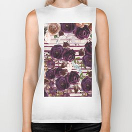 Watercolor ivory purple burgundy brown floral stripes Biker Tank