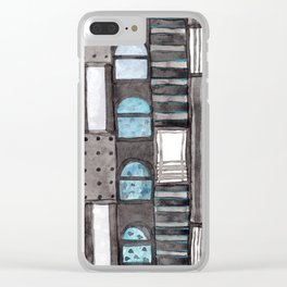 Gray Facade with Lighted Windows Clear iPhone Case