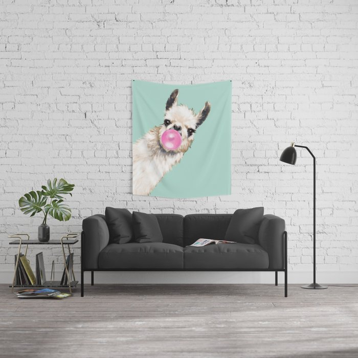 Bubble Gum Sneaky Llama in Green Wall Tapestry