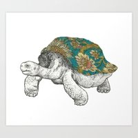 tortoise Art Prints featuring Tortoise by Ouizi - Los Angeles