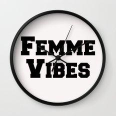 Femme Vibes - Black Wall Clock