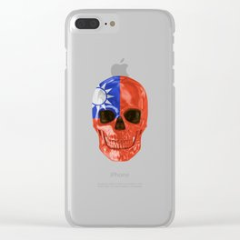 Skull Flag Of Taiwan Clear iPhone Case