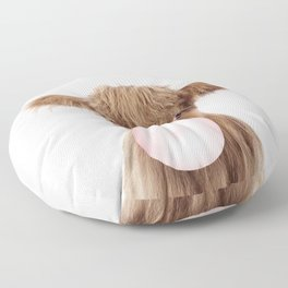 Bubble Gum Highland Cow Baby Floor Pillow
