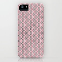Geometric abstract mauve pink silver foil pattern iPhone Case