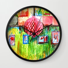 red lamp and shelf Wall Clock