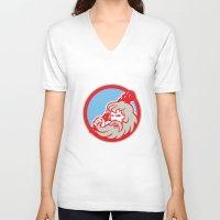 hercules V-neck T-shirts featuring Hercules Wielding Club Circle Retro by patrimonio