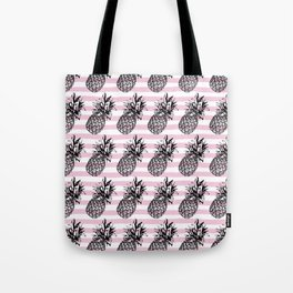 Pink Striped Pineapple Pattern Tote Bag