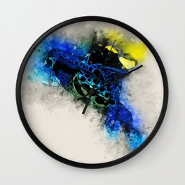 Dyeing poison dart frog soft watercolor print Wall Clock