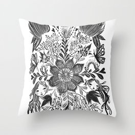 Me and you, day and night in our messy garden Throw Pillow
