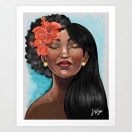 Hibiscus Versatile Afro Art Print