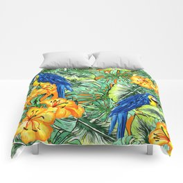 Tropical Pattern Parrots Comforters