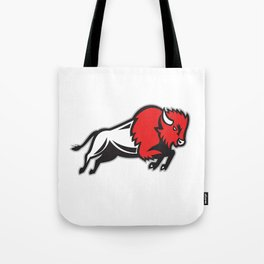 American Bison Buffalo Jumping Retro Tote Bag