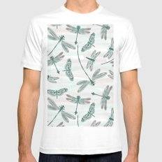 Pastel Dragonfly water color Mens Fitted Tee X-LARGE White