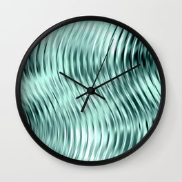 Modern Abstract Shiny Waves Glass Optical Illusion,Reflective Light, Ocean Teal Wall Clock