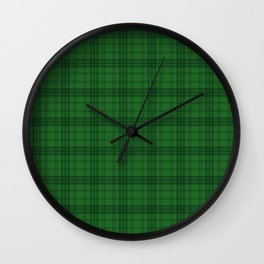 Green Plaid  Wall Clock