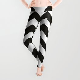 Black chocolate - black color - Zigzag Chevron Pattern Leggings