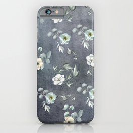 White Flowers and Grey Leaves iPhone Case