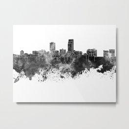 Omaha skyline in black watercolor Metal Print