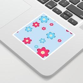 vintage fantasy flowers over blue Sticker