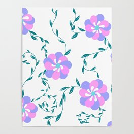Pink,purple flowers pattern Poster