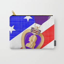 Flag and Purple Heart Carry-All Pouch