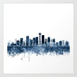 Seattle City Skyline Watercolor Blue by Zouzounio Art Art Print