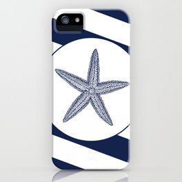 Nautical Starfish Navy Blue & White Stripes Beach iPhone Case