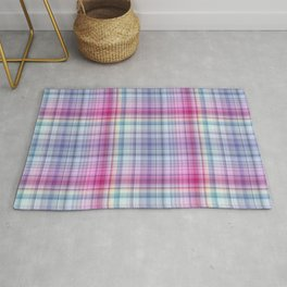 Pink and blue checked pattern Rug