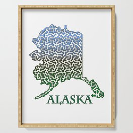 Alaska State Outline Mountain Themed Maze & Labyrinth Serving Tray