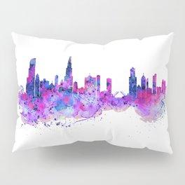 Chicago Watercolor Skyline 2 Pillow Sham