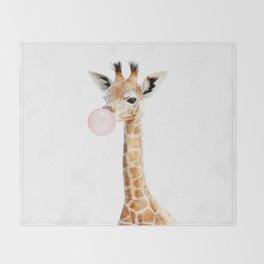 Bubble Gum Baby Giraffe Throw Blanket