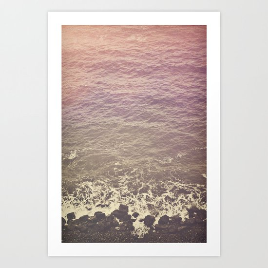 Rocky Beach Retro Art Print