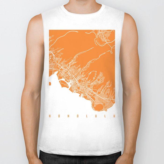 Honolulu map orange Biker Tank
