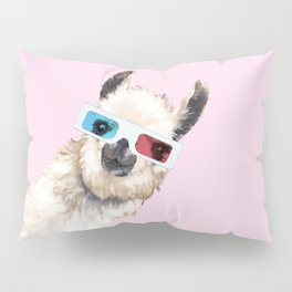 Sneaky Llama with 3D Glasses in Pink Pillow Sham
