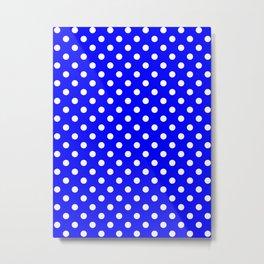 Small Polka Dots - White on Blue Metal Print