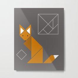 Boxy Foxy Tangram Foxes Metal Print