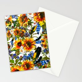 Abstract navy blue yellow watercolor sunflowers pansies pattern Stationery Cards