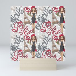 Paris Girl Bonjour Illustration Mini Art Print