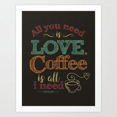 Love & Coffee (dark brown) Art Print