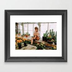greenhouse girl Framed Art Print