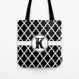 Black Monogram: Letter K Tote Bag