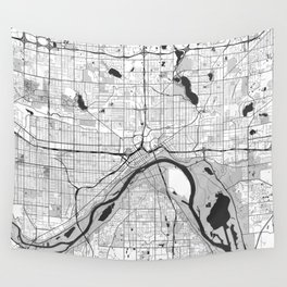 St Paul Map Gray Wall Tapestry