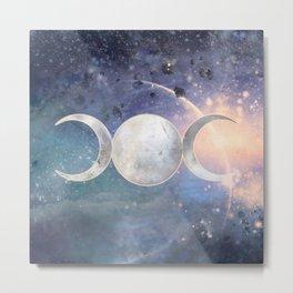 Heavenly Universe Triple Moon Goddess Metal Print