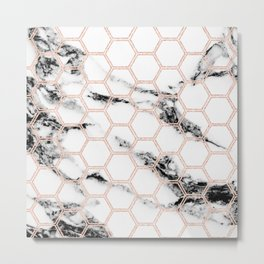 black and white marble with rose gold hexagons Metal Print